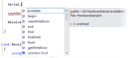 Visual Studio Intellisense Dropdown
