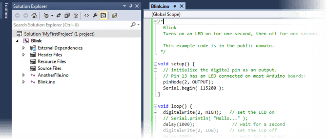 Opening an Existing Arduino Sketch - Arduino IDE for Visual