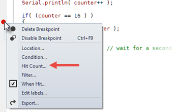 Hit Count Breakpoint Context Menu