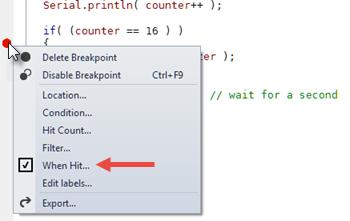 Hit Count Breakpoint Context Menu