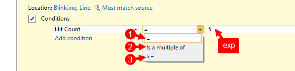 Breakpoint Vs15 Settings Popup Hit Count With Combo