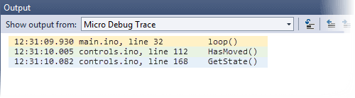 Output Window Showing Hit Breakpoints