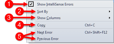 Error List Context Menu