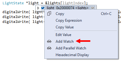 Add Watch Context Menu of Data Tip