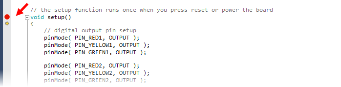 Initially set breakpoint