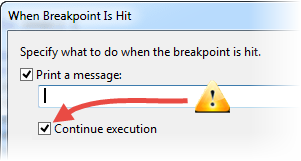 When Hit Continue Execution Checkbox