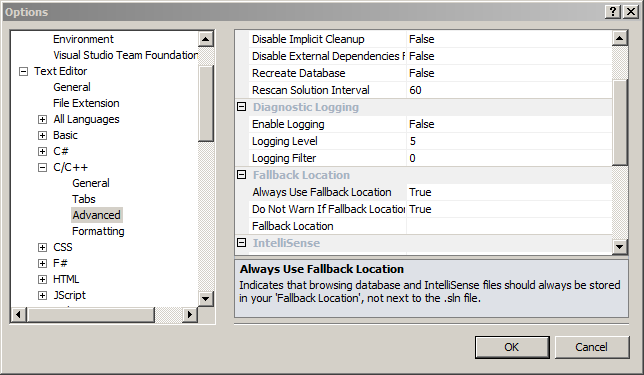 How to prevent or remove Visual Studio ipch/pch folders from the project