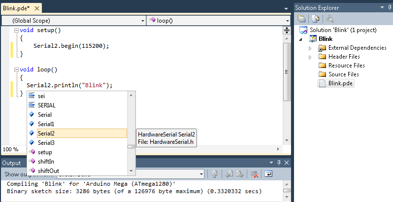 Arduino Visual Studio Intellisense for the Selected Arduino Board