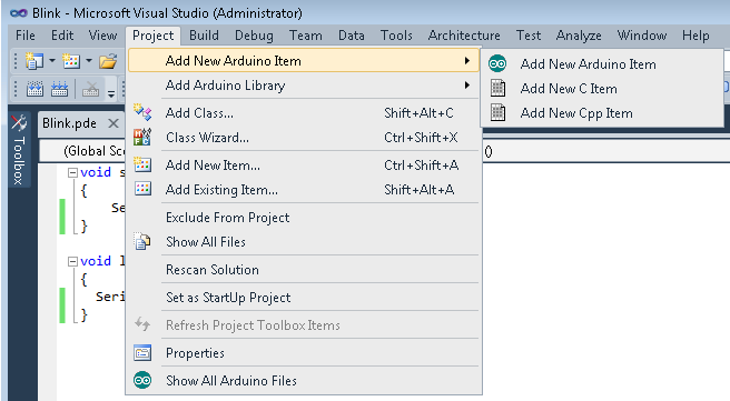 The Visual Studio Project menu contains a number of Arduino commands related to the active Project