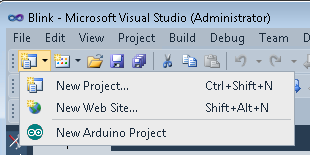 Arduino Visual Studio Create New Arduino Project Using the Visual Studio Standard Tool Bar