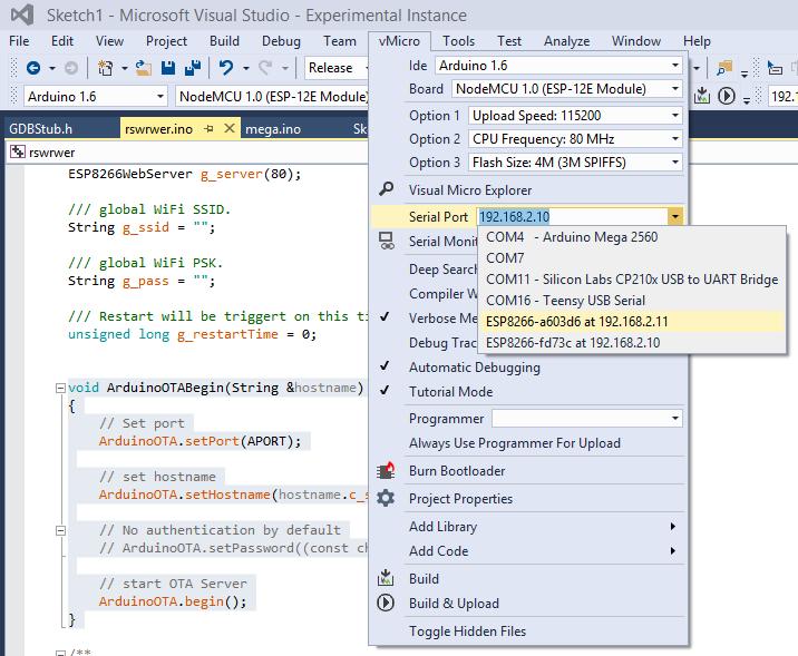 Arduino ESP8266 in the Visual Studio IDE