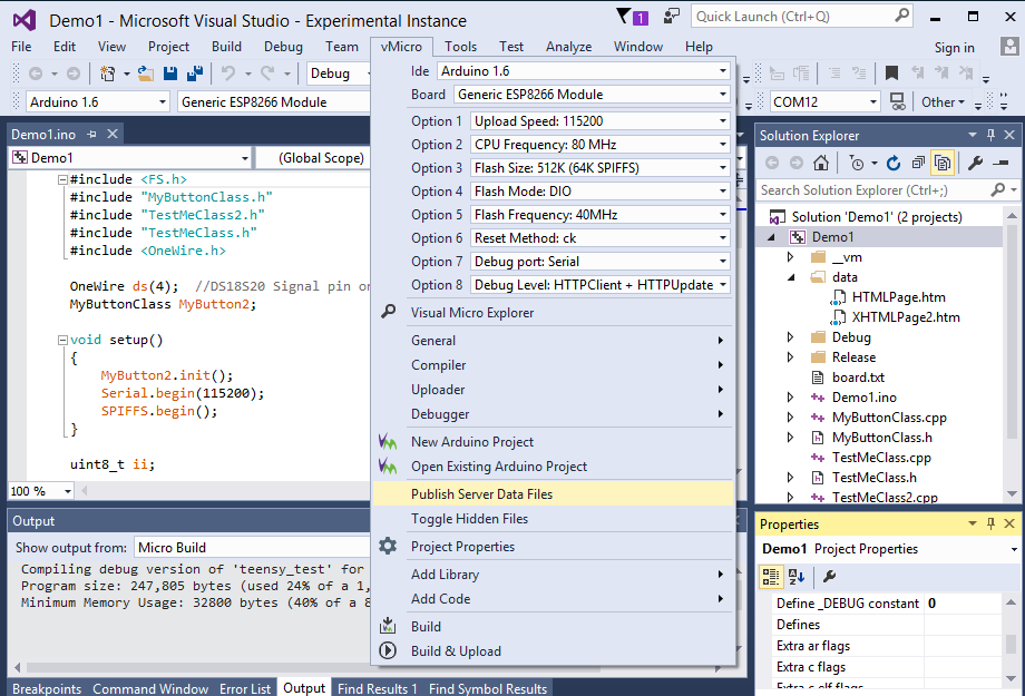 Arduino ESP8266 in the Visual Studio IDE