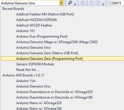 The Boards List shows install Arduino Boards grouped by Platform. Boards are automatically added to the Recently Used Boards List.