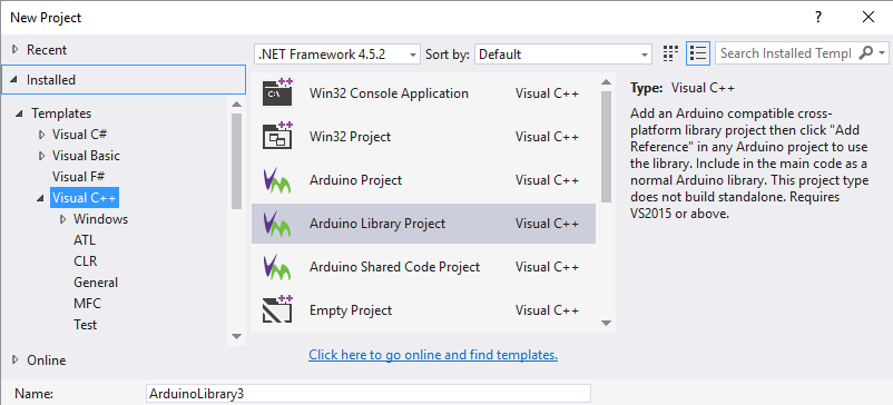The New project wizard in Visual Studio will include a selection of project types for Arduino. Allowing Arduino projects or libraries or shared code projects to created. Alternatively there is an Open Existing Sketch function that automatically creates a Visual Studio project and solution from existing code