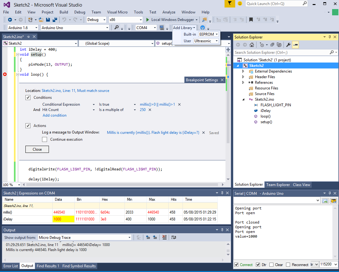 The Visual Micro main menu provides quick access to most Arduino features in Visual Studio