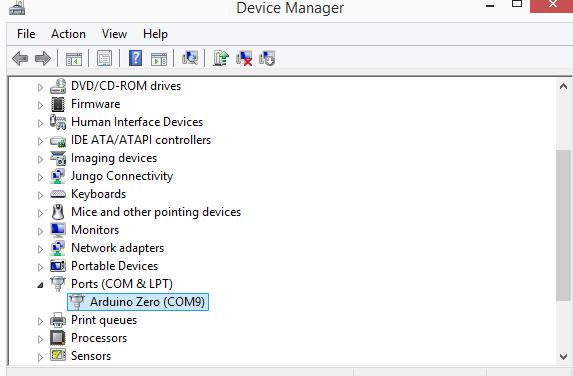 Arduino Zero Device Manager Native USB Port