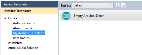 Arduino new project templates can be organized under folders