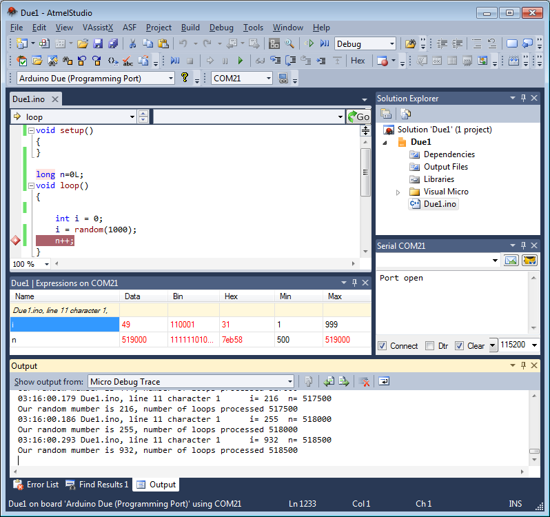 Click to see full size image of Arduino programming in Microsoft Visual Studio 2010.