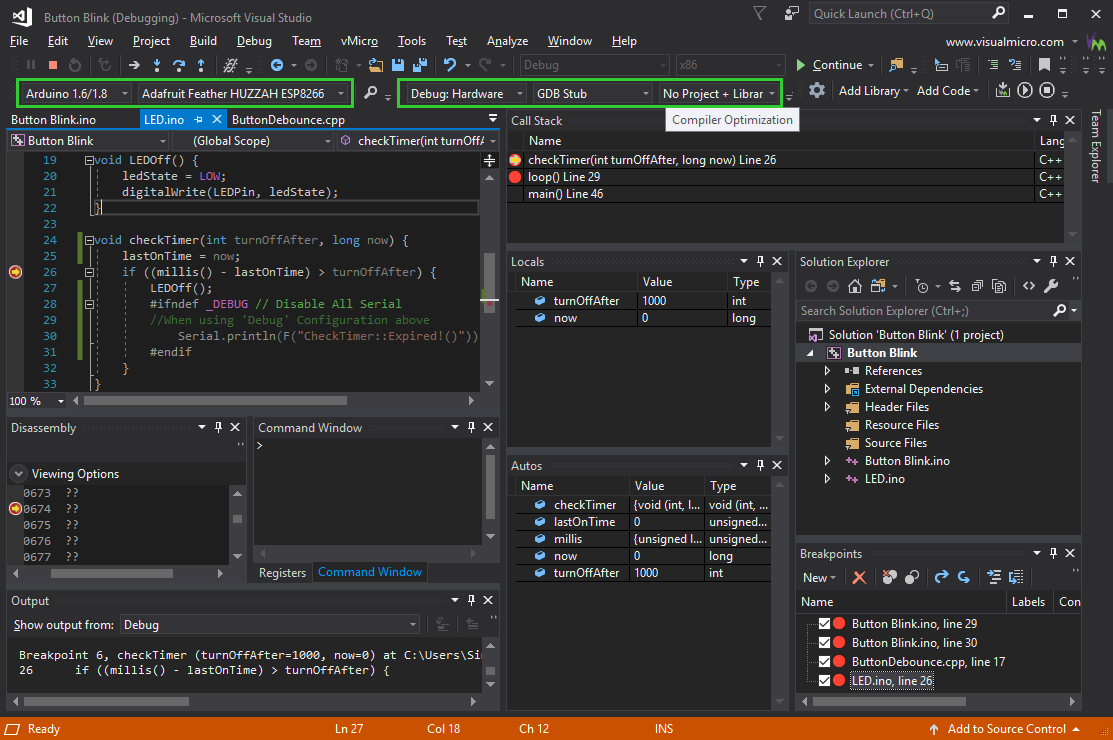 ESP8266 Debugging in vMicro and Visual Studio