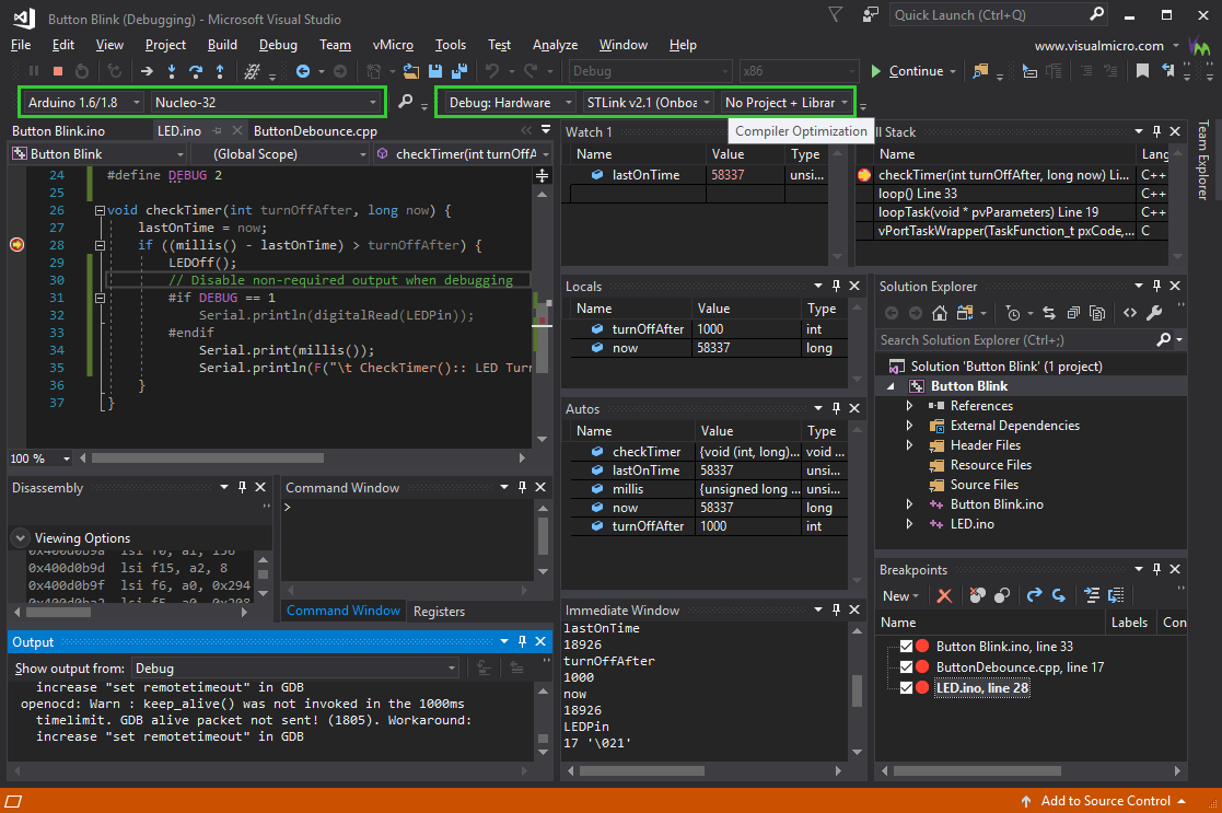 GDB Hardware Debugging in Action in Visual Studio