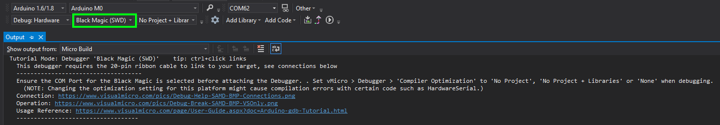 Debugger Hints Shown When a Debugger is Selected