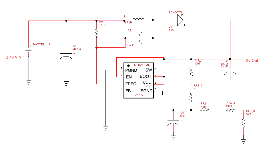 LM2623AMM Boost Reg Circuit Example