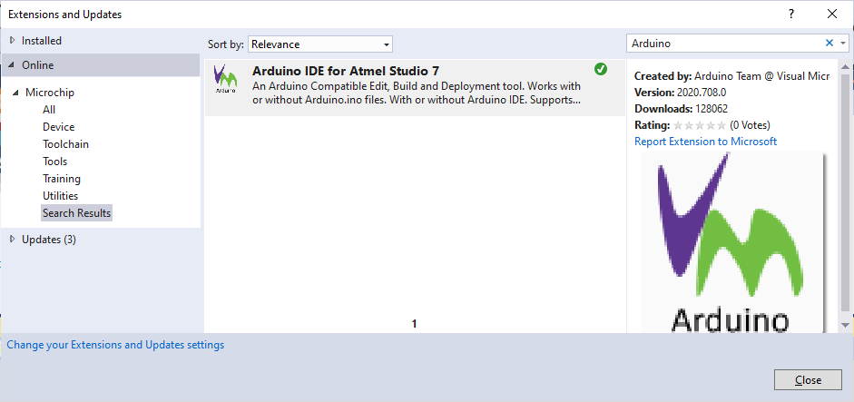 Atmel Studio: Downloading Visual Micro Extension from AS