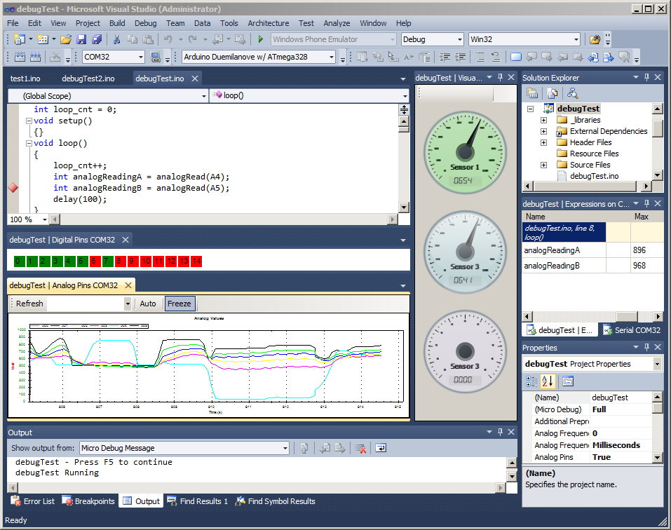 Open Source Arduino Debugger Extensibility Pack - Visualizations