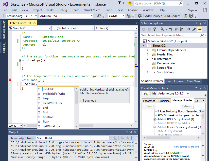 Arduino in visual studio and atmel