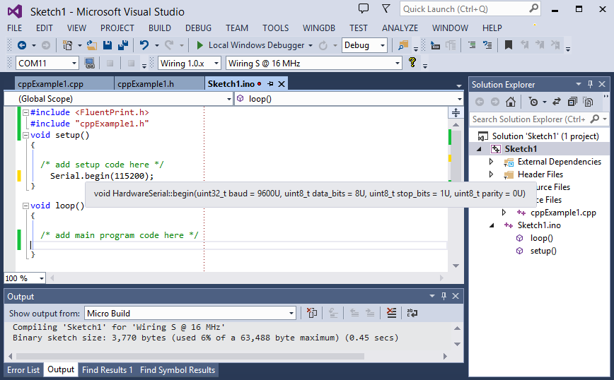 Image of the Wiring Ide hardware being programmed in Microsoft Visual Studio